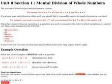 Mental Division of Whole Numbers Worksheet