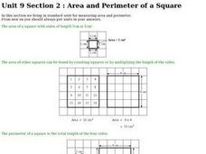Area and Perimeter of a Square Worksheet