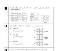 Estimation and Addition Worksheet Worksheet
