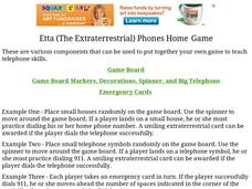 Etta Phones Home Game Worksheet