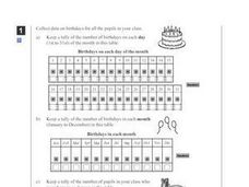 Birthdays Survey and Tally List Worksheet