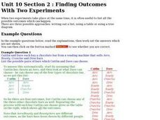 Unit 10 Section 2:  Finding Outcomes With Two Experiments Worksheet