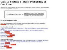 Basic Probability of One Event Worksheet