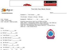 Time Units:  Hour, Minute, Second Worksheet