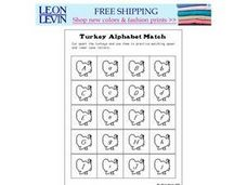 Turkey Alphabet Match Worksheet