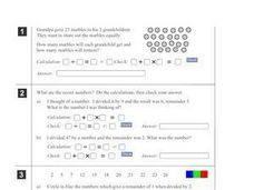 Five Division Word Problems Worksheet