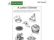 A Letter S Dinner Worksheet