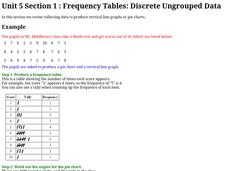 Frequency Tables; Discrete Ungrouped Data Worksheet