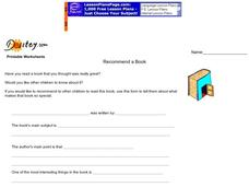 Recommend a Book Worksheet
