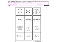 Clothing: Picture and Word Match Worksheet