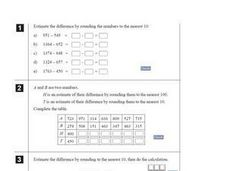 Estimating and Subtraction Worksheet