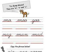 Try Bump Waves-  Cursive M, N, Z Worksheet
