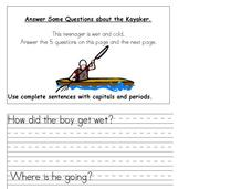 Answer Some Questions about the Kayaker Worksheet