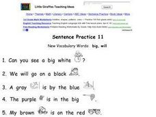 Little Giraffes: Sentence Practice 11 Worksheet