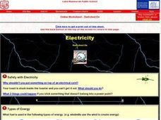 Online Worksheet- Switched On- Electricity Worksheet