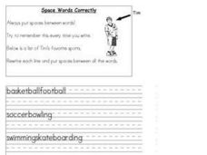 Space Words Correctly Worksheet