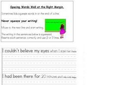 Spacing Words at the Right Margin When Writing Worksheet
