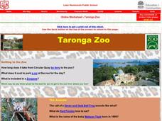 Taronga Zoo Worksheet