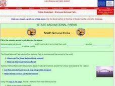State and National Parks Worksheet