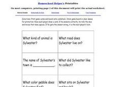 Sylvester and the Magic Pebble Game Questions Worksheet