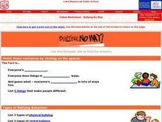 Bullying No Way Online Research Worksheet