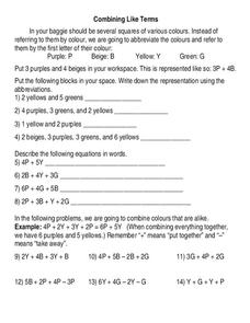 Combining Like Terms Worksheet