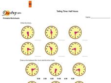 Telling Time:  Half Hour Worksheet