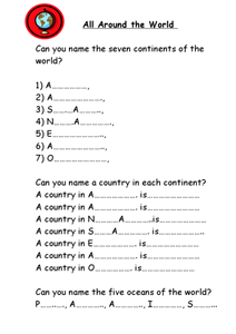 All Around the World Worksheet