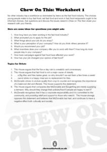Chew on This: Worksheets 1 - 5 Worksheet