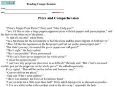 Pizza and Comprehension Worksheet