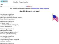 Our Heritage: American! Worksheet