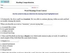Word Meanings from Context 2 Worksheet