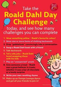 Take the Roald Dahl Day Challenge Worksheet