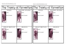 The Treaty of Versailles and Its Leaders Worksheet