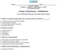 Using a Dictionary - Definitions Worksheet