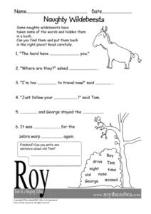 Naughty Wildebeests Worksheet