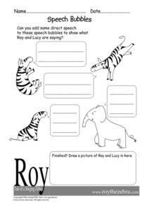 Speech Bubbles Worksheet