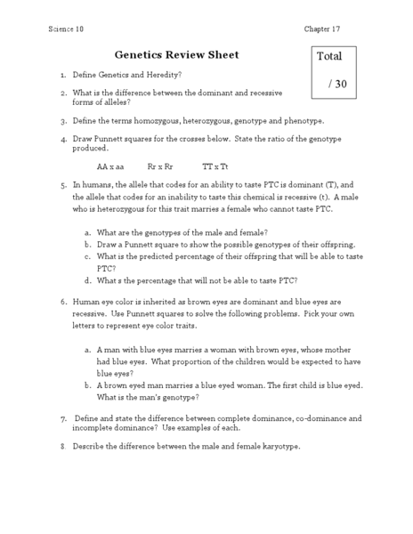 Genetics Review Sheet Worksheet for 7th - 12th Grade ...