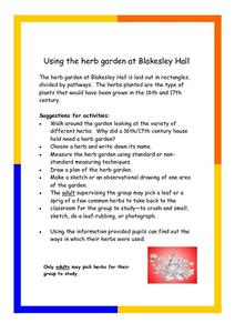 Using the Herb Garden at Blakesley Hall Worksheet