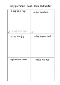 Silly Pictures- Read, Draw, Write Worksheet