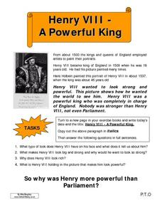 Henry VIII- A Powerful King/ Tudor Parliament Worksheet