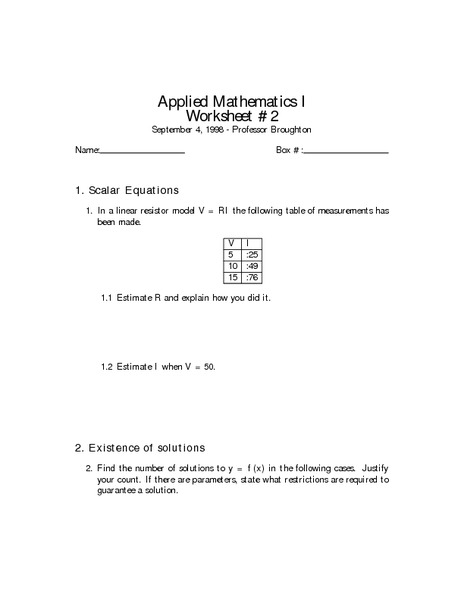Applied Mathematics I Worksheet