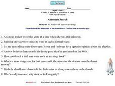 Antonym Search Worksheet