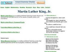 Martin Luther King, Jr. Crossword Puzzle Worksheet