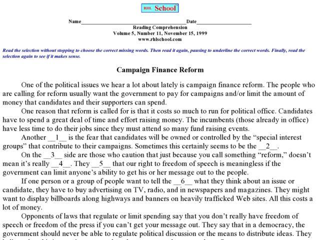 Campaign Finance Reform Lesson Plans Worksheets – Finance Worksheets