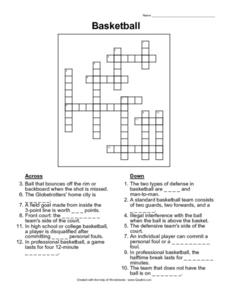Basketball Crossword Worksheet