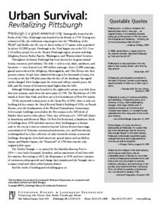 Urban Survival: Revitalizing Pittsburgh Resource Sheets Worksheet