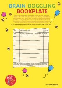 Roald Dahl Brain-Boggling Bookplate Activity Worksheet