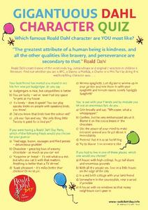 Gigantuous Dahl Character Quiz Worksheet