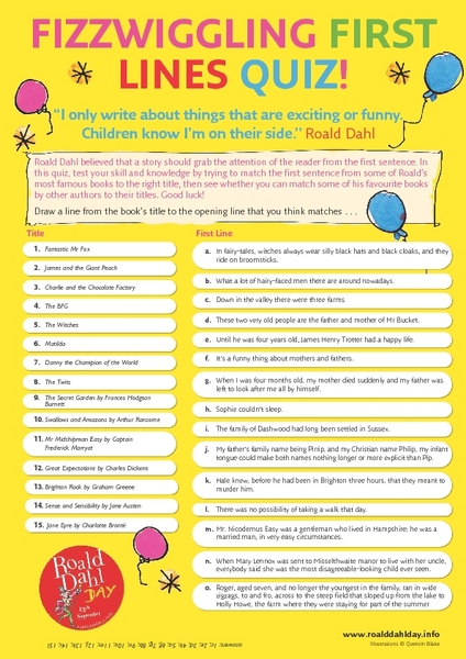 Fizzwiggling First Lines Quiz! Worksheet
